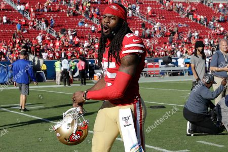 San Francisco 49ers cornerback Richard Sherman reacts after an NFL football game against the Los Angeles Rams, in Los Angeles