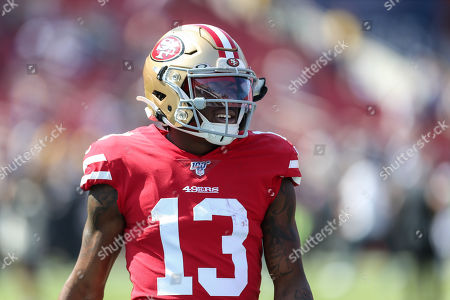 Los Angeles, CA...San Francisco 49ers wide receiver Richie James #13 during the NFL game between San Francisco 49ers vs Los Angeles Rams at the Los Angeles Memorial Coliseum in Los Angeles, Ca on , 2019. Photo by Jevone Moore