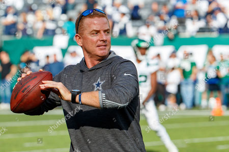 , 2019, Dallas Cowboys head coach Jason Garrett in action prior to the NFL game between the Dallas Cowboys and the New York Jets at MetLife Stadium in East Rutherford, New Jersey