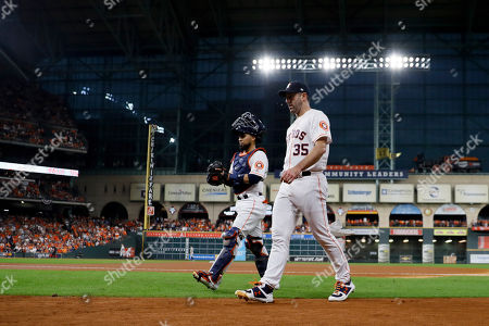 Houston Astros starting pitcher Justin Verlander walks to the dugout before Game 2 of baseball's American League Championship Series against the New York Yankees, in Houston