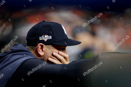New York Yankees manager Aaron Boone watches during the second inning in Game 2 of baseball's American League Championship Series against the Houston Astros, in Houston