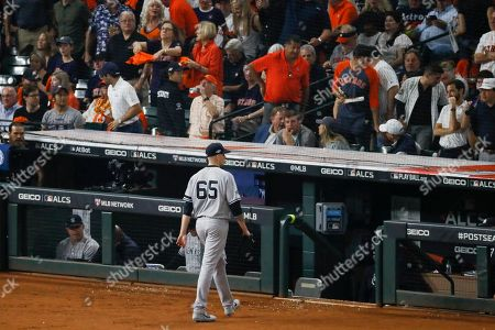 New York Yankees starting pitcher James Paxton is taken out of the game during the third inning in Game 2 of baseball's American League Championship Series against the Houston Astros, in Houston