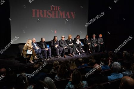Edith Bowman, Martin Scorsese, Robert De Niro, Al Pacino, Harvey Keitel, Anna Paquin, Jane Rosenthal, Emma Tillinger Koskoff, Steven Zaillian and Sandy Powell