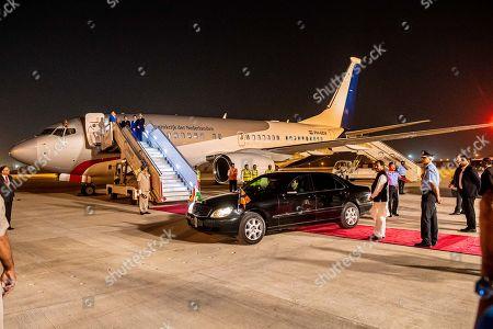 Stock Image of King Willem-Alexander and Queen Maxima arrive at Indira Gandhi International Airport in Delhi