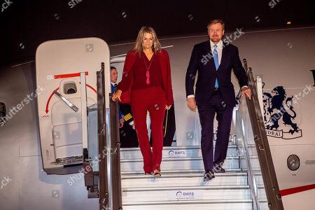 King Willem-Alexander and Queen Maxima arrive at Indira Gandhi International Airport in Delhi