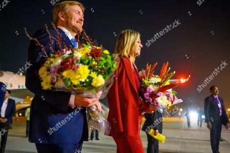 Stock Photo of King Willem-Alexander and Queen Maxima arrive at Indira Gandhi International Airport in Delhi