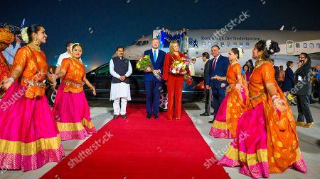 Stock Picture of King Willem-Alexander and Queen Maxima arrive at Indira Gandhi International Airport in Delhi
