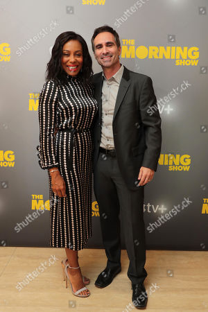 EXCLUSIVE - Karen Pittman and Nestor Carbonell at Apple's press day for 'The Morning Show' a new drama premiering on Apple TV+, the first all-original video subscription service, launching November 1 on the Apple TV app.