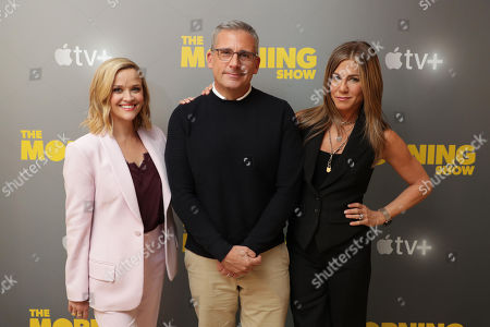 EXCLUSIVE - Reese Witherspoon, Steve Carell and Jennifer Aniston at Apple's press day for 'The Morning Show' a new drama premiering on Apple TV+, the first all-original video subscription service, launching November 1 on the Apple TV app.