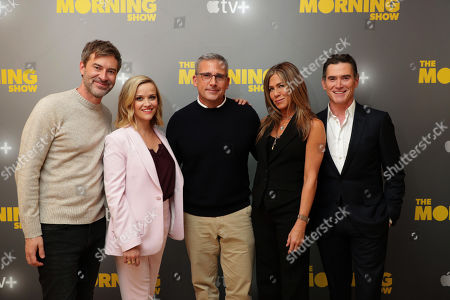EXCLUSIVE - Mark Duplass, Reese Witherspoon, Steve Carell, Jennifer Aniston and Billy Crudup at Apple's press day for 'The Morning Show' a new drama premiering on Apple TV+, the first all-original video subscription service, launching November 1 on the Apple TV app.