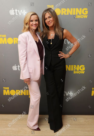 EXCLUSIVE - Reese Witherspoon and Jennifer Aniston at Apple's press day for 'The Morning Show' a new drama premiering on Apple TV+, the first all-original video subscription service, launching November 1 on the Apple TV app.