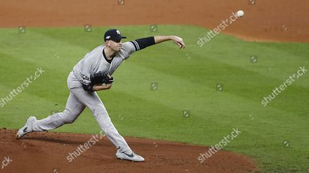New York Yankees pitcher James Paxton throws against the Houston Astros in the bottom of the first inning of their MLB American League Championship Series playoff baseball game two at Minute Maid Park in Houston, Texas, USA, 13 October 2019. The winner of the best-of-seven series will go on to face either the Washington Nationals or the St. Louis Cardinals in the World Series.
