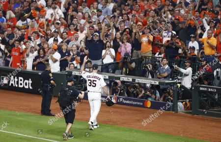 Houston Astros pitcher Justin Verlander reacts to fans after being removed from the game against the New York Yankees in the top of the seventh inning of their MLB American League Championship Series playoff baseball game two at Minute Maid Park in Houston, Texas, USA, 13 October 2019. The winner of the best-of-seven series will go on to face either the Washington Nationals or the St. Louis Cardinals in the World Series.