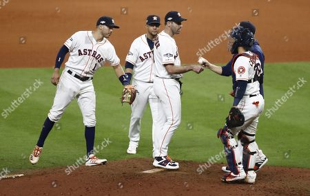 Houston Astros pitcher Justin Verlander (C) is removed by manager A.J. Hinch (obscured) in the top of the seventh inning of their MLB American League Championship Series playoff baseball game two at Minute Maid Park in Houston, Texas, USA, 13 October 2019. The winner of the best-of-seven series will go on to face either the Washington Nationals or the St. Louis Cardinals in the World Series.