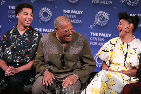 Marcus Scribner, Laurence Fishburne and Tracee Ellis Ross
