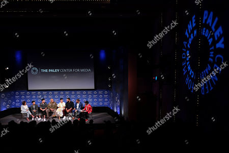 Stock Picture of Marsai Martin, Miles Brown, Marcus Scribner, Laurence Fishburne, Tracee Ellis Ross, Anthony Anderson, Courtney Lilly and Charlamagne The God