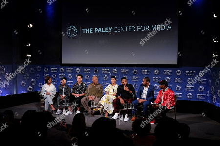 Stock Image of Marsai Martin, Miles Brown, Marcus Scribner, Laurence Fishburne, Tracee Ellis Ross, Anthony Anderson, Courtney Lilly and Charlamagne The God