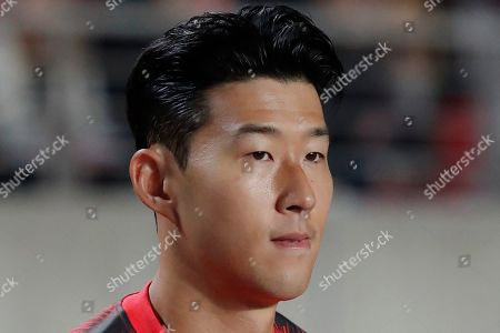 South Korea's Son Heung-min arrives for the Asian zone Group H qualifying soccer match against Sri Lanka for the 2022 World Cup at Hwaseong Sports Complex Main Stadium in Hwaseong, South Korea. Son Heung-min may be the biggest soccer name in South Korea and across Asia but the Tottenham forward's fame struggles to penetrate North Korea. As the two neighbors meet in a 2022 World Cup qualifier on Tuesday, the only attention the English Premier League star can expect in Pyongyang is from the home team's defenders