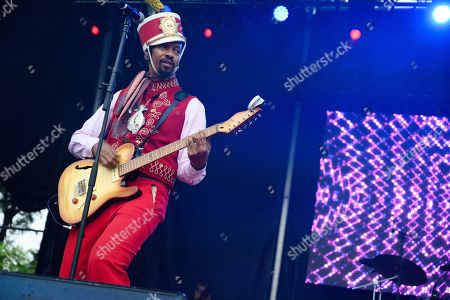 Stock Picture of Xavier Amin Dphrepaulezz, Fantastic Negrito. Fantastic Negrito performs on stage at AfroPunk 2019, in Atlanta