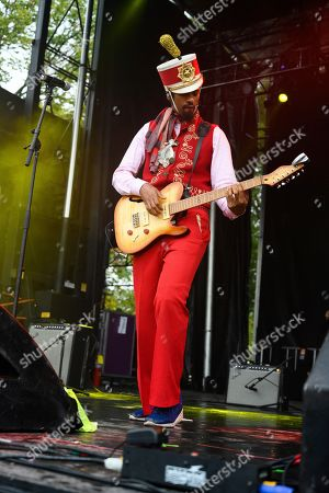 Stock Image of Xavier Amin Dphrepaulezz, Fantastic Negrito. Fantastic Negrito performs on stage at AfroPunk 2019, in Atlanta
