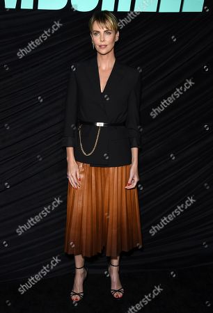 """Charlize Theron, who plays Megyn Kelly, poses at a Los Angeles special screening of """"Bombshell"""" at the Pacific Design Center on"""