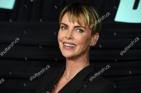 """Charlize Theron, who plays Megyn Kelly, poses at a Los Angeles special screening of """"Bombshell,"""" at the Pacific Design Center"""