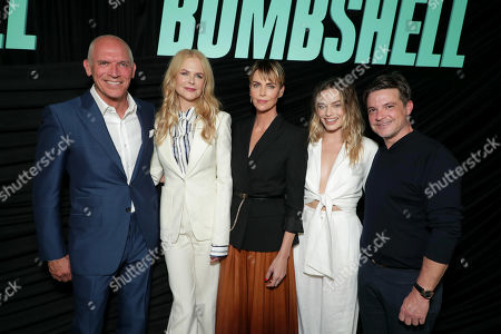 Joe Drake, Chairman, Lionsgate Motion Picture Group, Nicole Kidman, Charlize Theron, Margot Robbie and Damon Wolf, President of Worldwide Marketing, Lionsgate Motion Picture Group, attend Lionsgate's BOMBSHELL special screening at the Pacific Design Center in West Hollywood, CA