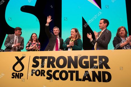 Jamie Hepburn, Minister for Business, Fair Work and Skills, Kate Forbes, Derek Mackay, Cabinet Secretary for Finance, Economy and Fair Work, Mhairi Love, Angus MacLeod, National Secretary of the Scottish National Party (SNP), and Kirsten Oswald, SNP Business Convener.