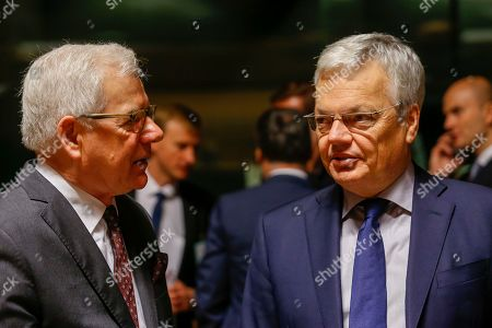 Polish Foreign Minister Jacek Czaputowicz (L) talks with Belgian Foreign Affairs Minister Didier Reynders (R) at the start of the Foreign Affairs Council in Luxembourg, 14 October 2019. The Foreign Affairs Council will start with a discussion on current affairs and will discuss Turkey's continued drilling activities in the Eastern Mediterranean.