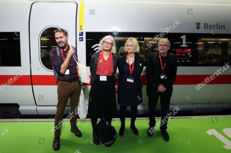 (L-R) Norwegian authors Svein Nyhus, Anna Fiske, Maria Paar and Jostein Gaarder pose for pictures before boarding the Literature Train of the German Railways on their way to the Frankfurt Book Fair, in Berlin, Germany, 14 October 2019. The Norwegian royals are traveling from Berlin to Frankfurt via Cologne where they will meet with a group of Norwegian authors heading to the international book fair in Frankfurt am Main. The Frankfurter Buchmesse 2019 runs from 16 to 20 October. Norway is this year's guest of honor.