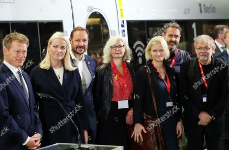 (L-R) CEO of Deutsche Bahn, Richard Lutz, Norwegian Crown Princess Mette-Marit, Crown Prince Haakon of Norway and Norwegian authors Anna Fiske, Maria Paar, Svein Nyhus and Jostein Gaarder pose for pictures before boarding the Literature Train of the German Railways on their way to the Frankfurt Book Fair, in Berlin, Germany, 14 October 2019. The Norwegian royals are traveling from Berlin to Frankfurt via Cologne where they will meet with a group of Norwegian authors heading to the international book fair in Frankfurt am Main. The Frankfurter Buchmesse 2019 runs from 16 to 20 October. Norway is this year's guest of honor.