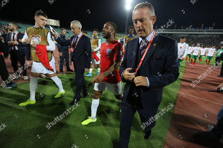 Raheem Sterling of England leaves the pitch at half time
