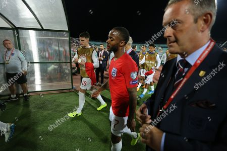 Raheem Sterling of England  leaves the pitch at half-time