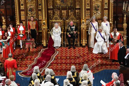 Queen Elizabeth II, Prince Charles and Camilla Duchess of Cornwall during the State Opening of Parliament by Queen Elizabeth II, in the House of Lords at the Palace of Westminster in London.