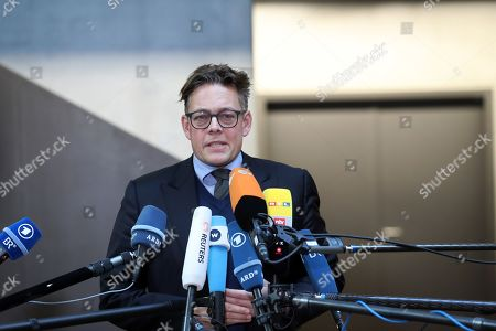 The Greens party member of the Parliamentary Oversight Panel (PKGr), Konstantin von Notz, during a press statement ahead of an extraordinary meeting of the committee in Berlin, Germany, 14 October 2019. The committee meets to discuss the antisemitic attack in Halle of last week where two people were killed.