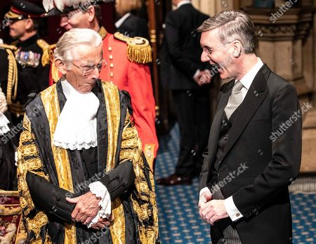 Leader of the house of commons, Jacob Rees-Mogg, talks with speaker of the Lords Norman Fowler following the Queens speech at the state opening of Parliament.