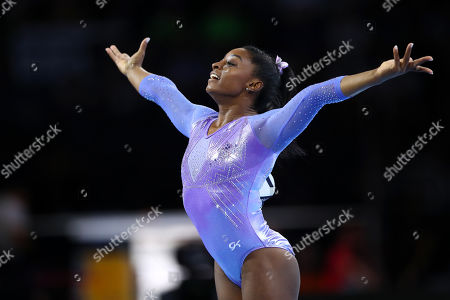 Stock Photo of Simone Biles (USA) - Artistic Gymnastics : The 2019 Artistic Gymnastics World Championships, Women's Apparatus Finals Floor Exercise at Hanns-Martin-Schleyer-Halle in Stuttgart, Germany.