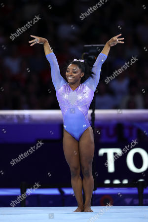 Stock Picture of Simone Biles (USA) - Artistic Gymnastics : The 2019 Artistic Gymnastics World Championships, Women's Apparatus Finals Floor Exercise at Hanns-Martin-Schleyer-Halle in Stuttgart, Germany.