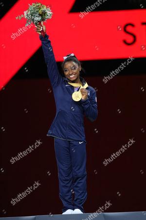 Stock Image of Simone Biles (USA) - Artistic Gymnastics : The 2019 Artistic Gymnastics World Championships, Women's Apparatus Floor Exercise Award ceremony at Hanns-Martin-Schleyer-Halle in Stuttgart, Germany.