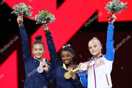 (L-R) Sunisa Lee, Simone Biles (USA), Angelina Melnikova (RUS) - Artistic Gymnastics : The 2019 Artistic Gymnastics World Championships, Women's Apparatus Floor Exercise Award ceremony at Hanns-Martin-Schleyer-Halle in Stuttgart, Germany.