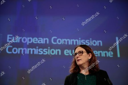European Commissioner for Trade Cecilia Malmstrom gives a press conference on the EU Free Trade agreement implementation report in Brussels, Belgium, 14 October 2019. Malmstrom also commented on the World Trade Organisation's decision to formally authorise the US to impose tariffs of 7.5 billion US dollars on European exports per year to  retaliate aginast illegal EU government aid to Airbus.