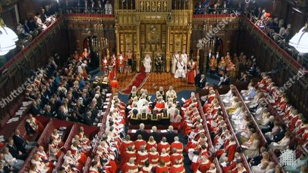 A grab from a handout video made available by the UK Parliamentary Recording Unit shows a general view over the House of Lords with Queen Elizabeth II (top C-L) and Charles, Prince of Wales (top C-R) in London, Britain, 14 October 2019. The Queen will read a speech from the the throne in the House of Lords and open Parliament.