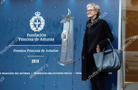 Stock Photo of US writer Siri Hustvedt arrives to La Reconquista Hotel in Oviedo, Asturias, Spain, 14 October 2019. Hustvedt will receive the 2019 Princess of Asturias Award for Literature during the Princess of Asturias Awarding Ceremony on 18 October. The Princess of Asturias Awards are given every year to personalities or organizations from all around the world who make significant achievements in the sciences, arts, literature, humanities and sports.