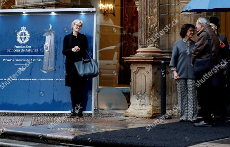 US writer Siri Hustvedt (L) and her husband, novelist Paul Auster (R), arrive to La Reconquista Hotel in Oviedo, Asturias, Spain, 14 October 2019. Hustvedt will receive the 2019 Princess of Asturias Award for Literature during the Princess of Asturias Awarding Ceremony on 18 October. The Princess of Asturias Awards are given every year to personalities or organizations from all around the world who make significant achievements in the sciences, arts, literature, humanities and sports.