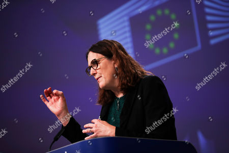 European Trade Commissioner Cecilia Malmstrom talks to journalists during a news conference at the European Commission headquarters in Brussels on Monday, Oct.14, 2019