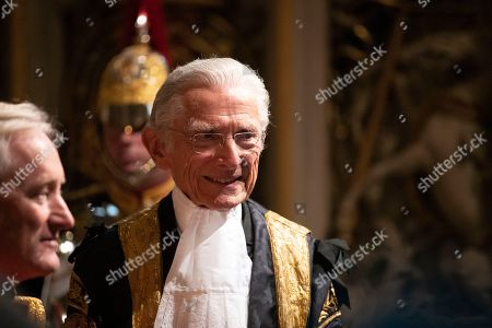Lord Speaker Norman Fowler speaks to dignitaries in the Norman Porch at the Palace of Westminster and the Houses of Parliament at the State Opening of Parliament ceremony in London