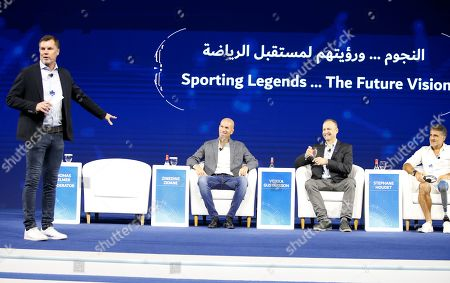 Stock Image of (L-R) Thomas Helmer former German footballer, Real Madrid manager the French legend former soccer player Zinedine Zidane, Finnish mountaineer Veikka Gustafsson and French Finnish mountaineer Veikka Gustafsson attend a session as part of Dubai Artificial Intelligence in Sports (DAIS) Conference and Exhibition in Dubai, UAE, 14 October 2019. Reports state the two-day event is bringing together leading figures from the sport and Artificial Intelligence (AI) arenas for discussions on integrating AI into sports industry.