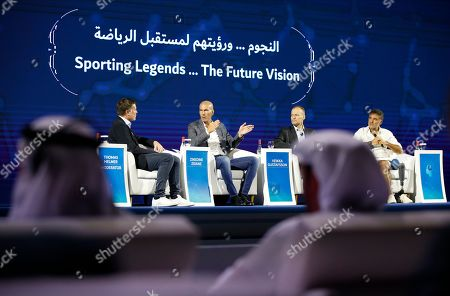 (L-R) Thomas Helmer former German footballer, Real Madrid manager the French legend former soccer player Zinedine Zidane, Finnish mountaineer Veikka Gustafsson and French Finnish mountaineer Veikka Gustafsson attend a session as part of Dubai Artificial Intelligence in Sports (DAIS) Conference and Exhibition in Dubai, UAE, 14 October 2019. Reports state the two-day event is bringing together leading figures from the sport and Artificial Intelligence (AI) arenas for discussions on integrating AI into sports industry.
