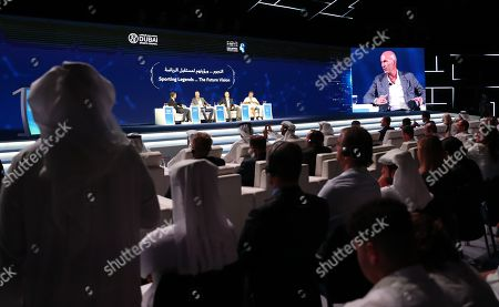 Stock Picture of (L-R on the stage) Thomas Helmer former German footballer, Real Madrid manager the French legend former soccer player Zinedine Zidane, Finnish mountaineer Veikka Gustafsson and French Finnish mountaineer Veikka Gustafsson attend a session as part of Dubai Artificial Intelligence in Sports (DAIS) Conference and Exhibition in Dubai, UAE, 14 October 2019. Reports state the two-day event is bringing together leading figures from the sport and Artificial Intelligence (AI) arenas for discussions on integrating AI into sports industry.
