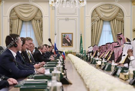 A general view of a meeting of Russian President Vladimir Putin and Saudi Arabia's King Salman bin Abdulaziz Al Saud at the Saudi Royal palace in Riyadh, Saudi Arabia, 14 October 2019. Russian President Vladimir Putin pays a state visit to Saudi Arabia.